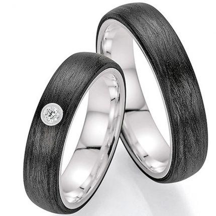 Eheringe außen Carbon und innen Silber mit Brillant
