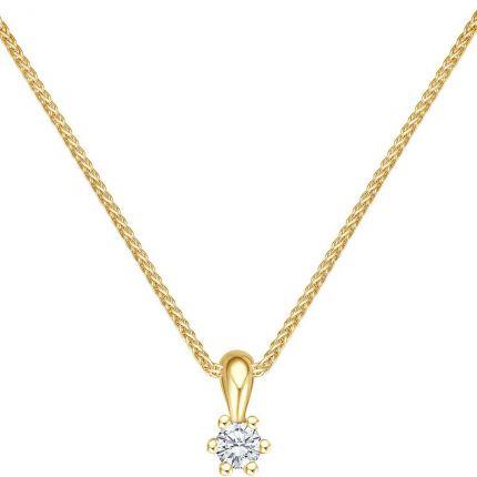 Diamant Anhänger mit 0,09 ct w/si Brillant aus 585 Gelbgold mit Kette