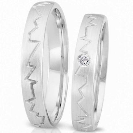 Ringe aus Silber mit gezacktem Rillenverlauf und wahlweise Brillant oder Zirkonia
