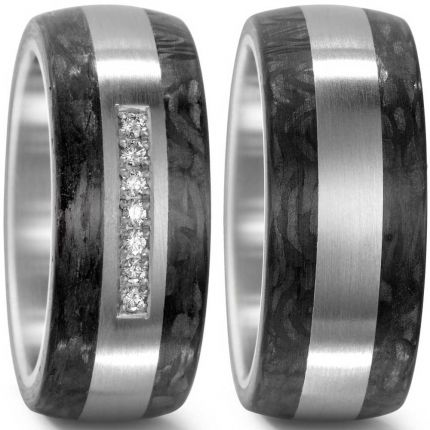 10 mm breite Eheringe aus Carbon mit Edelstahl und 7 Brillanten