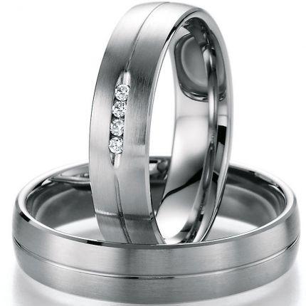 Hochzeitsringe aus Palladium, Oberfläche längsmatt glänzend im Set
