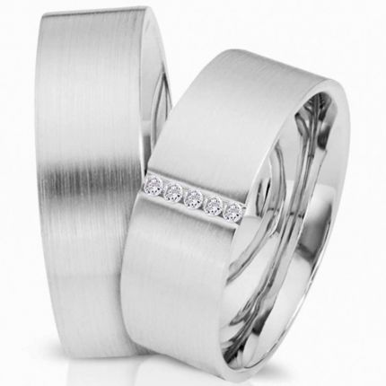 Ringpaar 991315 aus Silber mit 5 Zirkonia