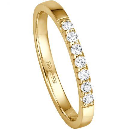 Memoire Verlobungsring mit 7 Brillanten aus Gelbgold