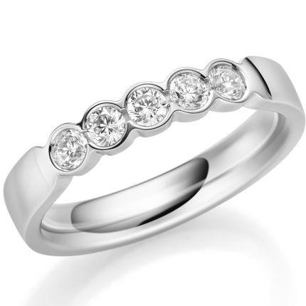 Memoire Ring mit 5 Brillanten zus 0,35 ct TW/SI