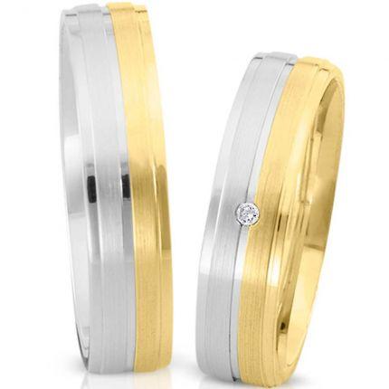 Ringpaar 991192 aus Weißgold und Gelbgold