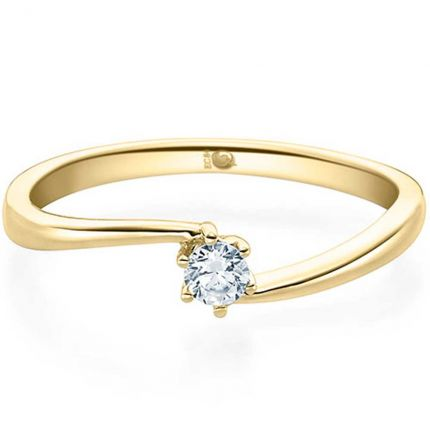 Geschwungener Verlobungsring Gelbgold, 0,10 ct Diamant, hochglänzend