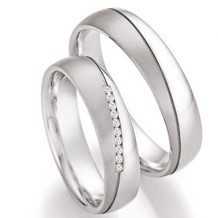 Hochzeitsringe aus Silber mit 10 diagonalen Brillanten