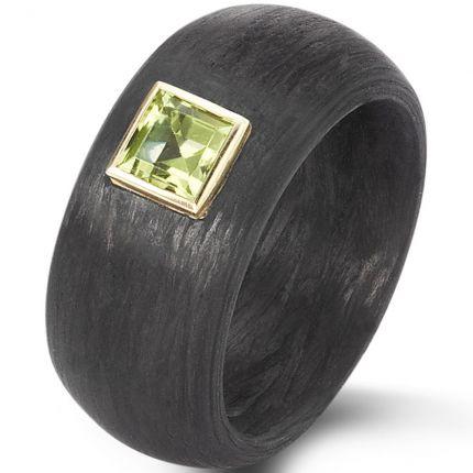 Carbonring zur Verlobung mit Peridot