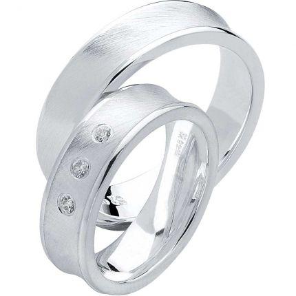 Ungewöhnliche Ringe aus Silber, schrägmatt, mit konkavem Profil und wahlweise Zirkonia