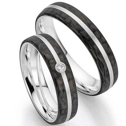 Ringpaar aus Silber mit Carbon und Brillant