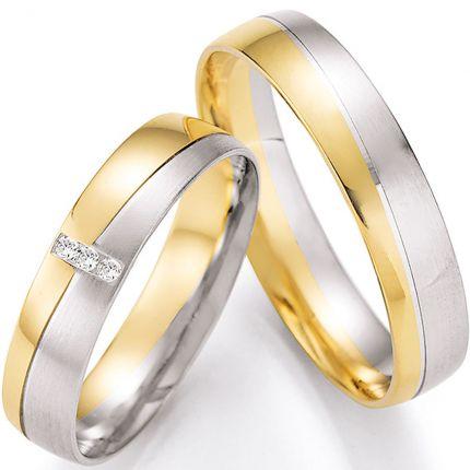 Hochzeitsringe in zweifarbiger Optik mit Wellenrille