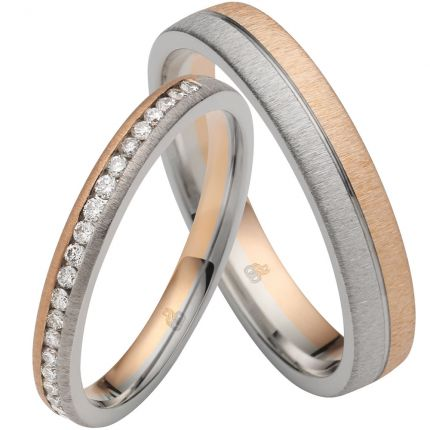 Schmale Ringe aus Weissgold und Roségold mit 22 Brillanten