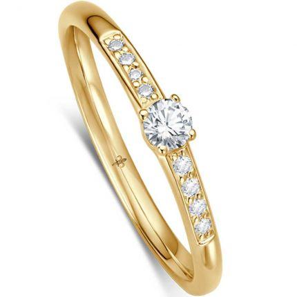 Verlobungsring mit großem Brillant in 4er Krappe und acht kleinen Brillanten (Gelbgold)