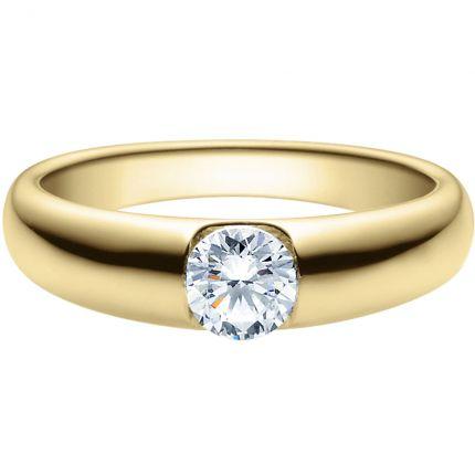 Massiver Verlobungsring aus Gelbgold mit 0,5 ct Brillanten