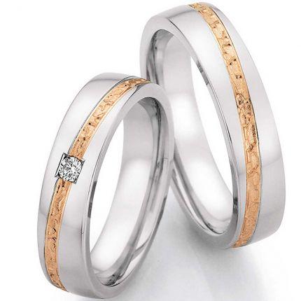 Eheringe Edelstahl mit Roségold und Hammerschlag, 5,0 mm breit und 0,055 Karat Diamant