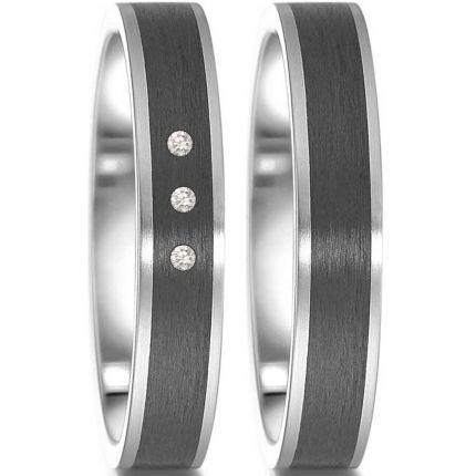 4 mm breite Hochzeitsringe aus Edelstahl mit Carbon