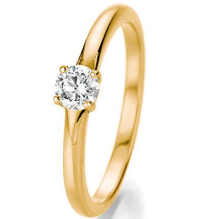 Wunderschöner gelbgoldener Verlobungsring mit 0,33 ct Brillant in 4er Krappe