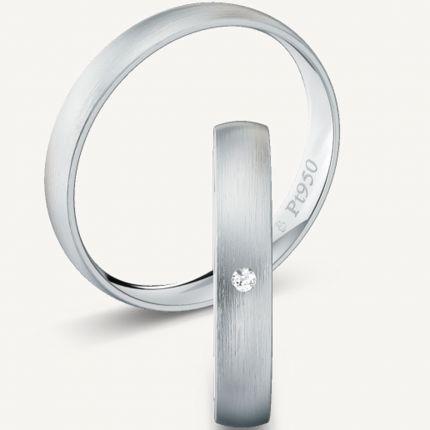 Längsmatte 3,5 mm breite Trauringe aus Platin mit wahlweise Brillant