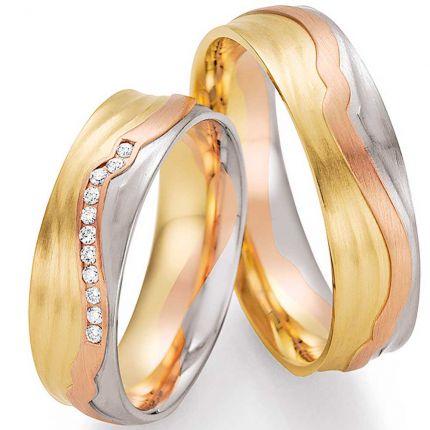 Hochzeitsringe dreifarbig mit 3D Oberfläche und Brillanten
