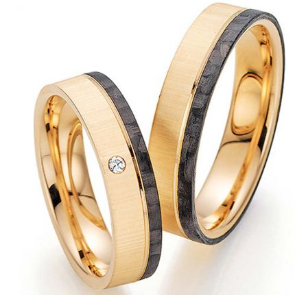 Ringpaar 9988455 aus Roségold mit Brillant und Carbon