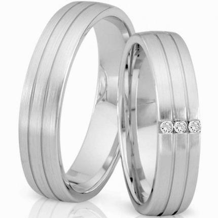 Ringpaar 99412 aus 925er Silber mit 3 Zirkonia