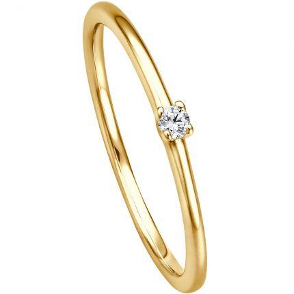 Günstiger Verlobungsring aus 585 Gelbgold mit 0,04 ct w/si Brillanten