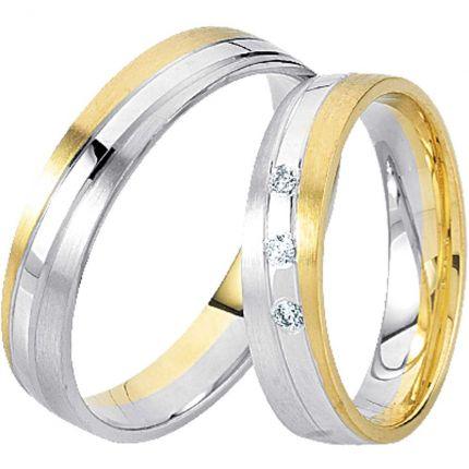 Ringpaar 99R811 aus Gelbgold und Weißgold