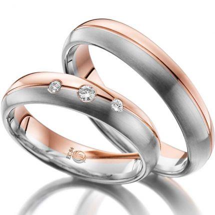 Zweifarbiges Ringpaar aus Weiß- und Rotgold