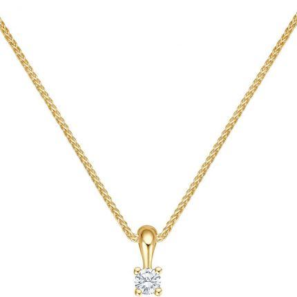 Diamant Anhänger mit 0,09 ct w/si Brillant in 4er Krappe aus 585 Gelbgold mit Kette