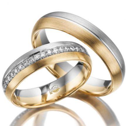 Ringpaar 99RU1018-1 aus Weißgold mit Gelbgold