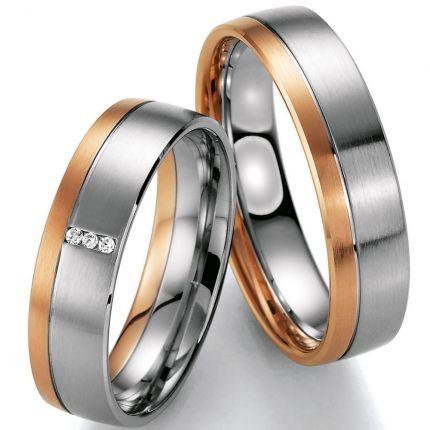 Hochzeitsringe Rotgold kombiniert mit Weißgold