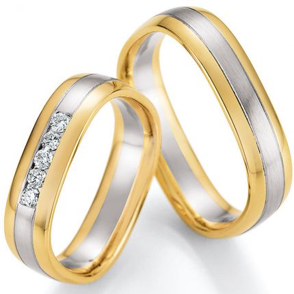 Rechteckiges Ringpaar aus Weissgold mit Gelbgold und 9 Brillanten