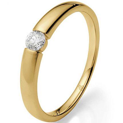 Verlobungsring Spannring mit 0,16 ct Brillanten aus Gelbgold