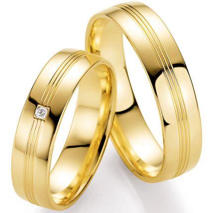 Hochglänzende Eheringe aus Gelbgold