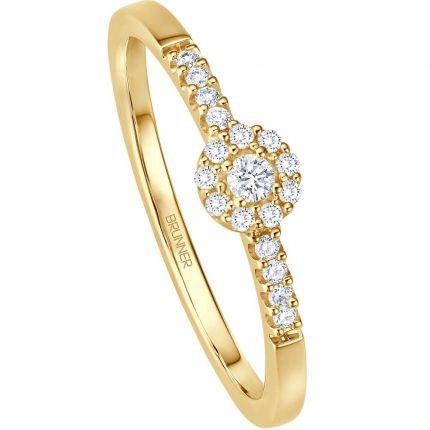 Verlobungsring aus Gelbgold mit 18 Brillanten