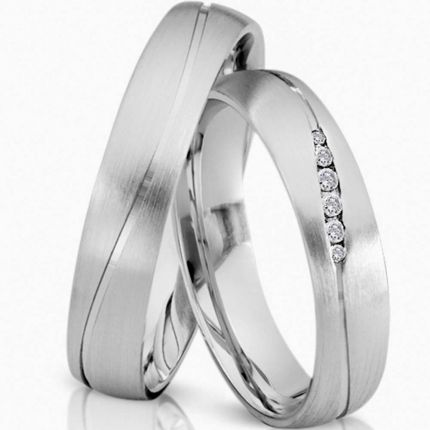 Ringpaar 994010 aus Weißgold mit Brillanten