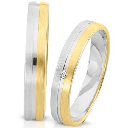 Ringpaar 99278 aus Weißgold mit Gelbgold und Brillant