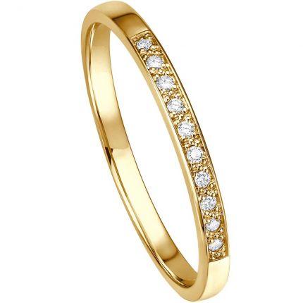 Memoire-Ring aus Gelbgold mit 10 Brillanten