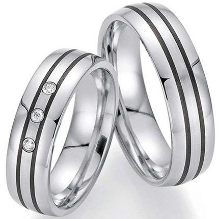 Hochzeitsringe aus Edelstahl mit zwei Carbonstreifen