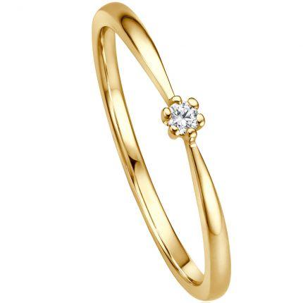 Preiswerter Verlobungsring aus Gelbgold mit 0,04 ct Brillant