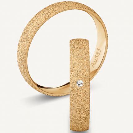 4,0 mm breite, diamantierte Eheringe aus Roségold mit wahlweise Brillant