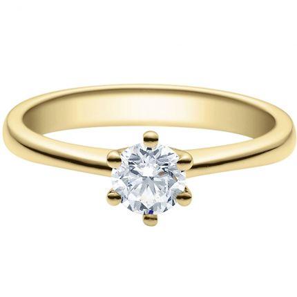 Verlobungsring 9918001 mit 0,5 ct Brillant aus Gelbgold in 6er Krappe