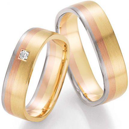 Hochzeitsringe Gelbgold- Weißgold- Roségold, viereckig mit Brillant