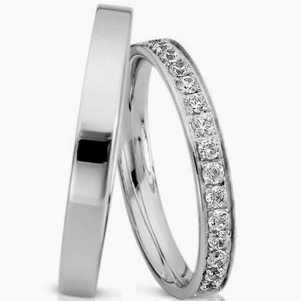 Schmale Ringe aus Silber und wahlweise 14 Brillanten oder Zirkonia