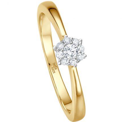 Verlobungsring mit 9 Brillanten aus Gelbgold