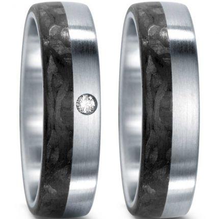Tolles Ringpaar aus Edelstahl mit Carbon und Brillant