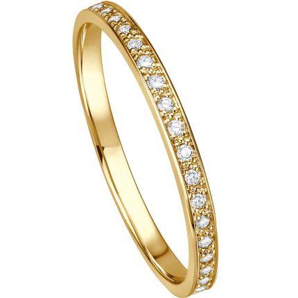 Memoire-Ring aus Gelbgold komplett ausgefasst mit Brillanten
