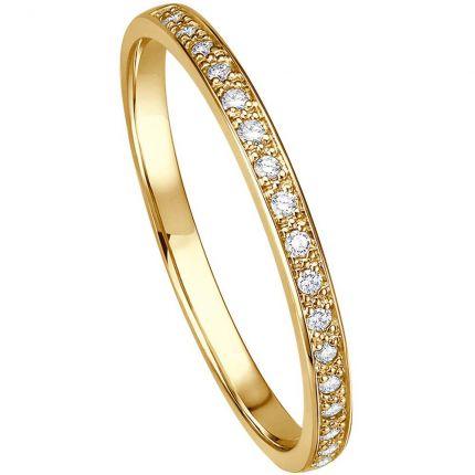 Memoire-Ring aus Gelbgold halb ausgefasst mit 17 Brillanten