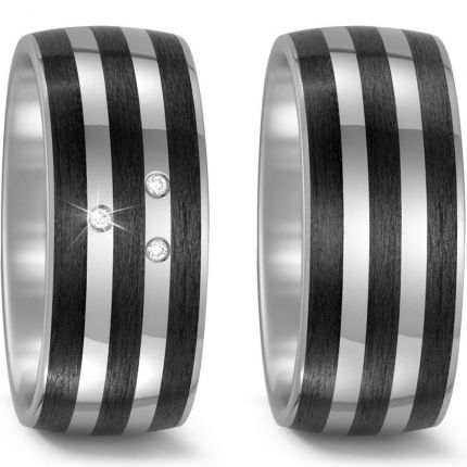 Breites Ringpaar aus Titan mit Carbon und drei Brillanten