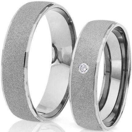 Ringpaar 99367 aus Silber mit sandgestrahlter Oberfläche und Zirkonia